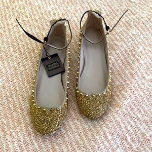Zara size 49 spikey brassy, goldtone rhinestoned ballet black ankle strap shoes